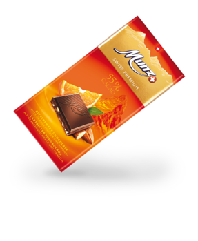Munz Swiss Premium dark 55% orange/almonds tablet 100gtbitter 55% Orange/Mandel 100g